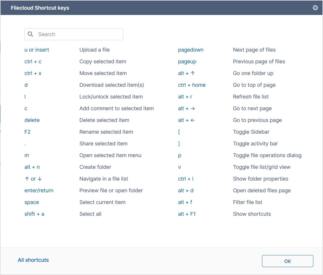 FileCloud 21 - Keyboard Shortcuts